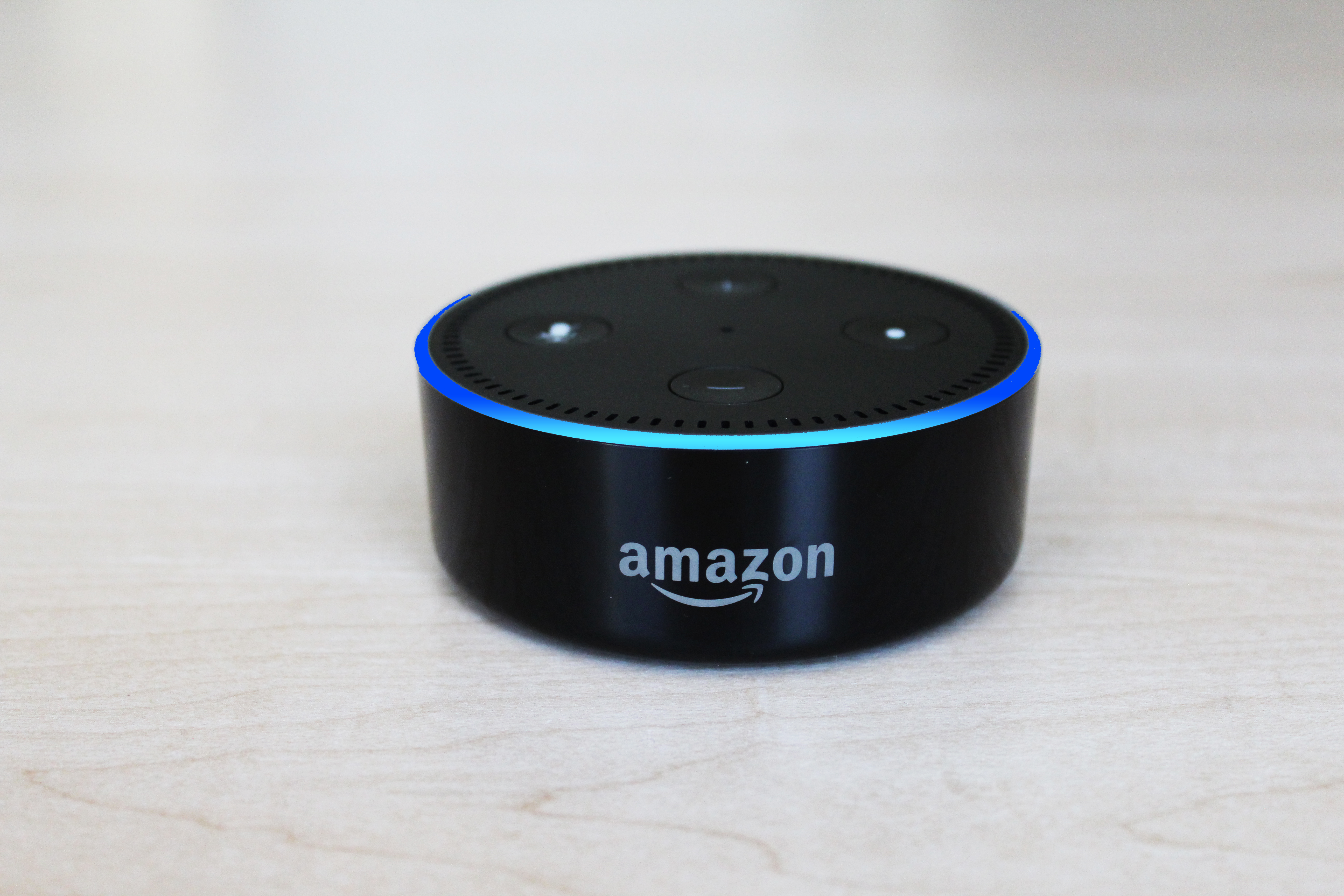 An Amazon Echo Alexa device on a table