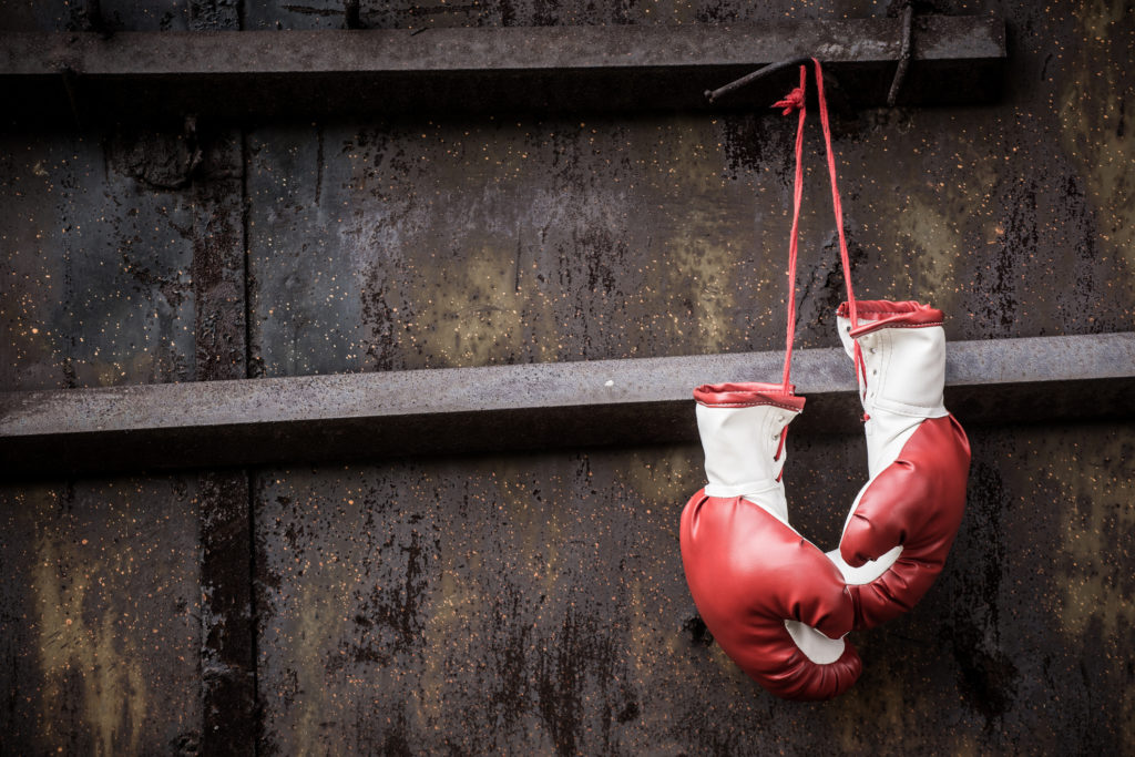 Vintage red boxing gloves and a rusty old gates.
