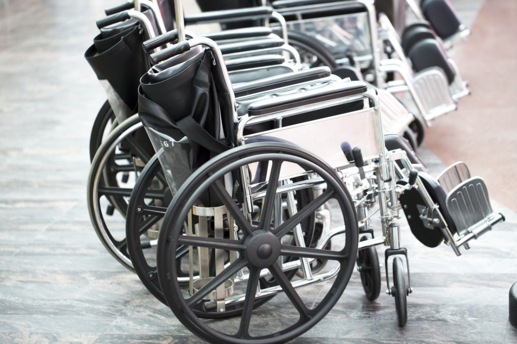 Wheelchairs in a row, selective focus