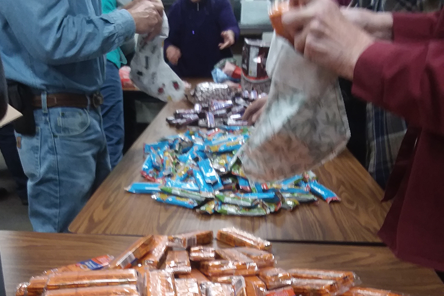 stuffing stockings for inmates
