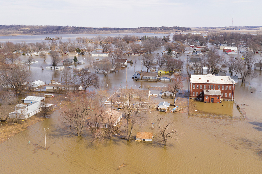 A small town devastated by flooding