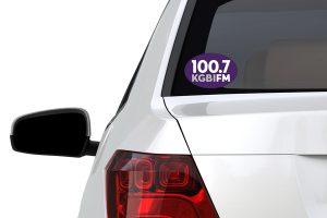 KGBI Window sticker on back of a car