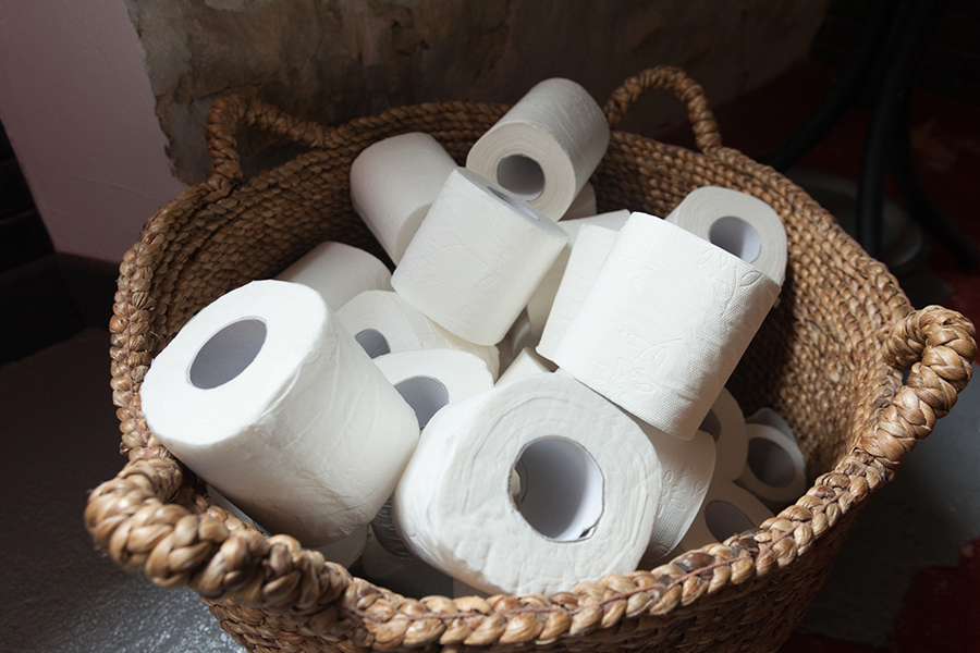 A basket of toilet paper