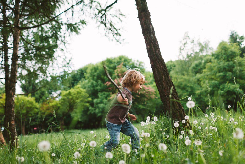 Little boy plying in the park